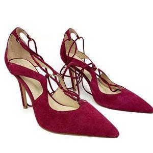 Liz Claiborne Suede Pointy Tie Heels SZ1-780